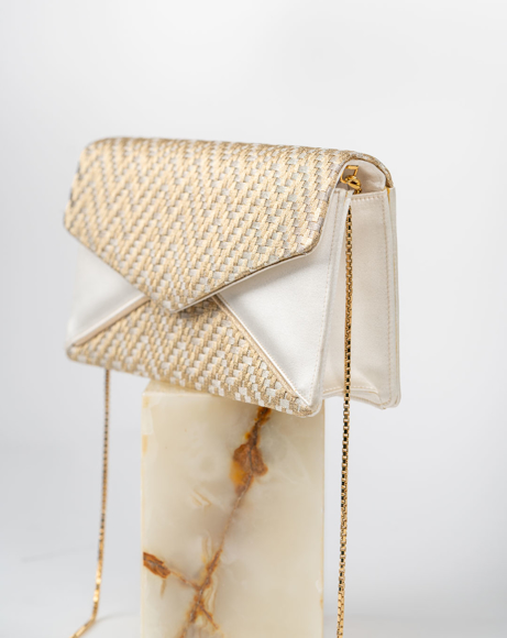 Picture of WHITE & GOLD ENVELOPE STYLE CLUTCH BAG