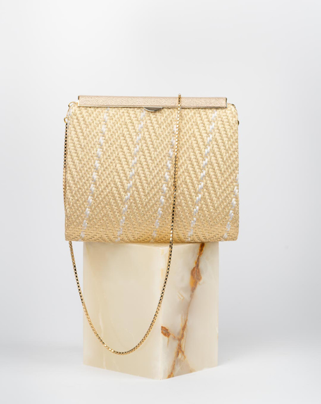 Picture of CLUTCH BAG WITH STRAP IN GOLD