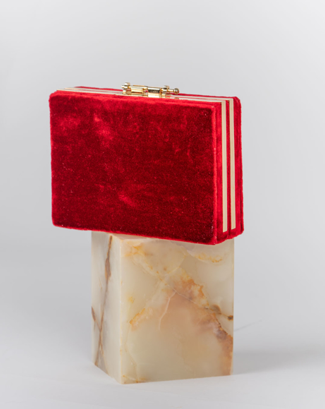 Picture of BOX RED SILK HAND BAG