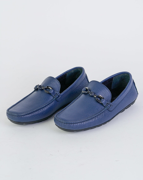 Picture of CALFSKIN LEATHER LOAFERS BLUE