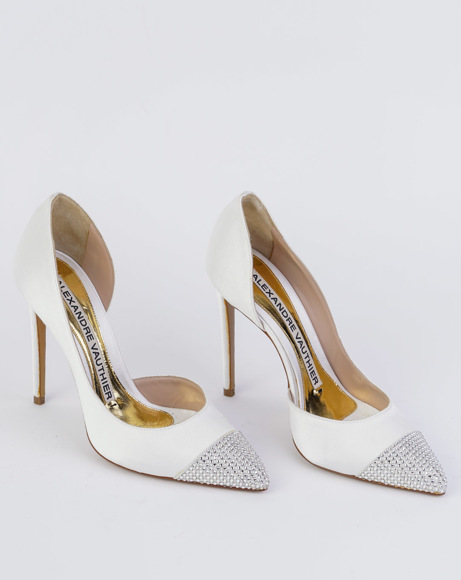 Picture of WHITE CHA CHA CRYSTAL-EMBELLISHED PUMPS
