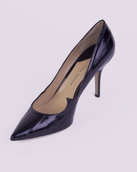 Picture of BLACK LEATHER POINTED TOE PUMPS