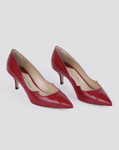 Picture of RED LEATHER POINTED TOE PUMPS