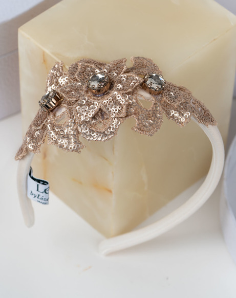 Picture of OFF WHITE AND GOLD JEWELLED APPLIQUE HEADBAND