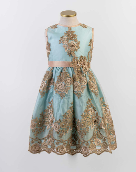 Picture of TURQUOISE BLUE AND GOLD LACE DRESS