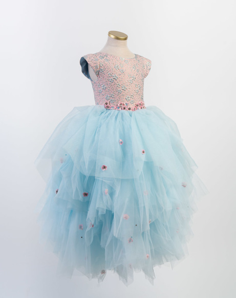 Picture of GIRLS ROSE GOLD/BLUE SPECIAL OCCASION DRESS