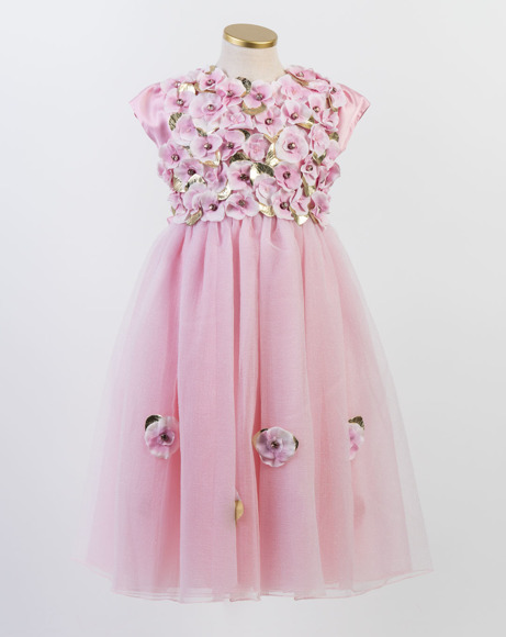 Picture of PINK TULLE DRESS WITH LEATHER FLOWER APPLIQUES