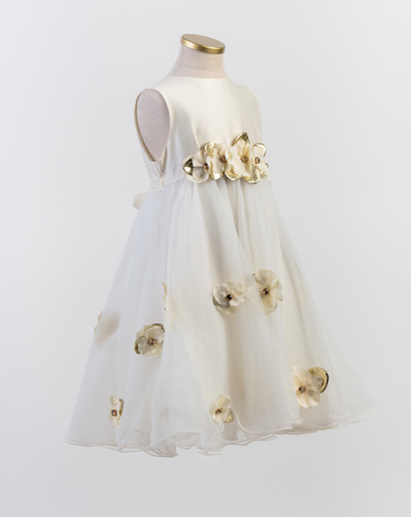 Picture of IVORY SATIN & TULLE FLOWER APPLIQUE DRESS WITH DIAMANTES