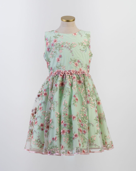 Picture of GREEN EMBROIDERED TULLE DRESS