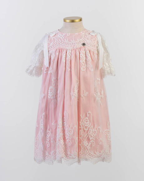 Picture of PINK AND WHITE LACE DRESS