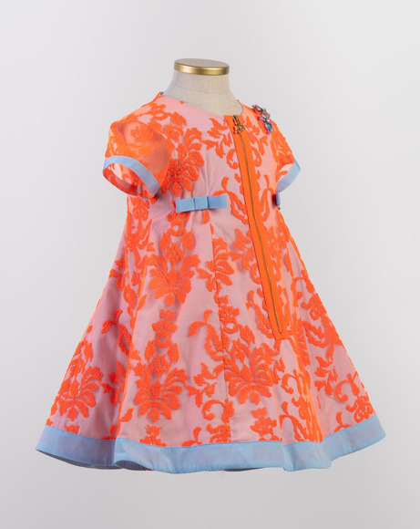 Picture of ORANGE EMBROIDERED DRESS