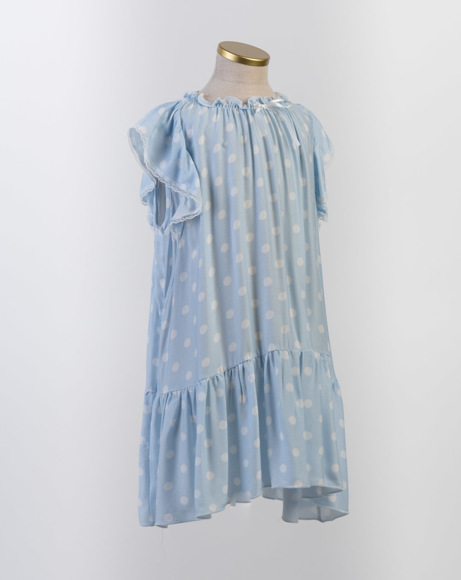 Picture of EVELYN CHILDREN'S NIGHTDRESS BLUE POLKA DOTS