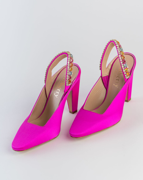 Picture of SLING-BACK IN FUCHSIA AND ROSE STAIN