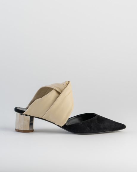 Picture of TWISTED BLOCK MULE 40 NAPPA/SUEDE, CREAM