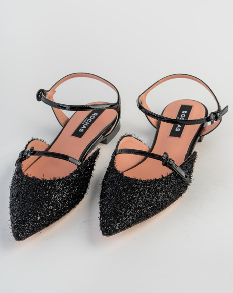 Picture of SUEDE BOUCLE FRAYED ANKLE STRAP