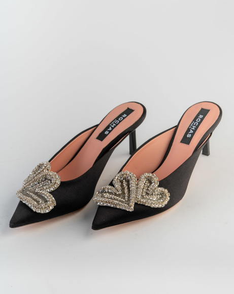 Picture of HEART SATIN MULES