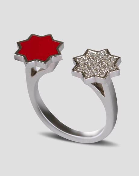 Picture of WHITE GOLD RED ENAMEL AND DIAMOND