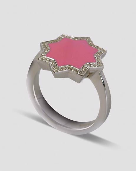 Picture of WHITE GOLD, PINK ENAMEL - RING