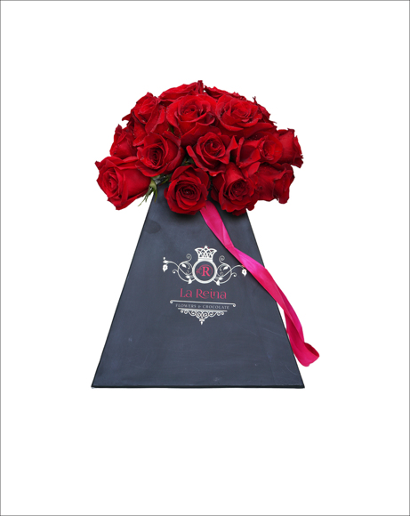 Picture of RED ROSES WITH BLACK BOX