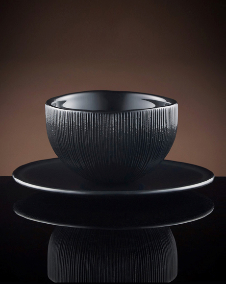 Picture of FIREFLY TEA BOWL & SAUCER IN BLACK