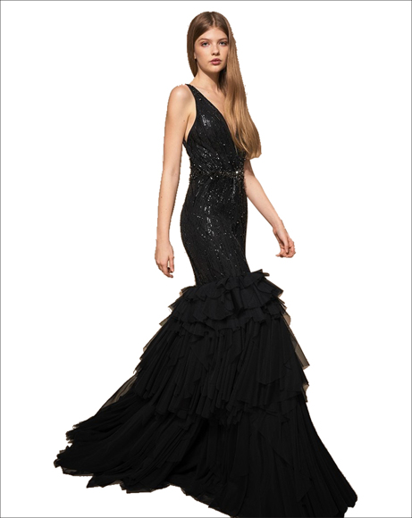 Picture of BLACK RUFFLED SEQUIN TRUMPET DRESS