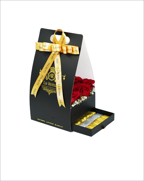 Picture of CHOCOLATES WITH RED ROSES, MARBLE BASKET