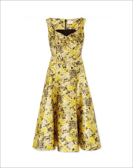 Picture of VERNA FLORAL-JACQUARD MIDI YELLOW DRESS
