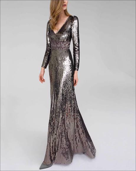 Picture of FLUTED CRYSTAL-EMBELLISHED SEQUINED TULLE GOWN