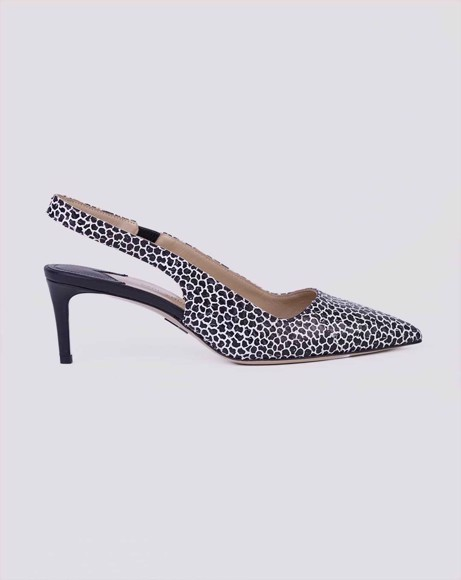 Picture of BLACK/WHITE SNAKE EMBOSSED SLINGBACK PUMPS