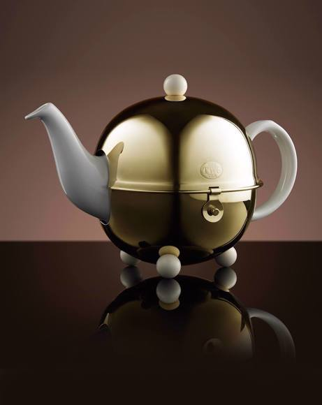 Picture of DESIGN GOLD TEAPOT IN WHITE 900 ML
