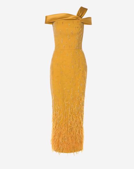 Picture of FEATHER TUBINO GOLD DRESS